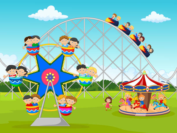 cartoon little kid in the carnival festival - kids playing in rain stock illustrations, clip art, cartoons, & icons