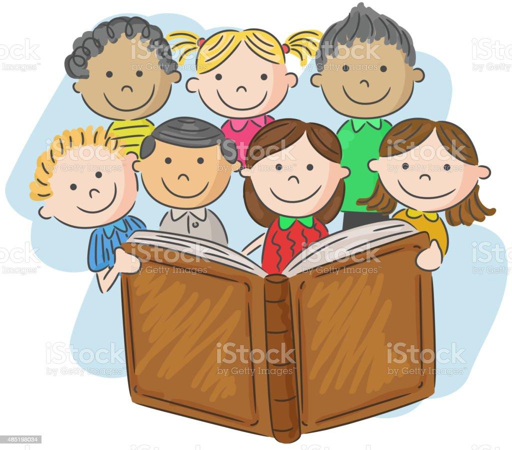 ilustração de desenho de criança lendo livro e mais banco de imagens