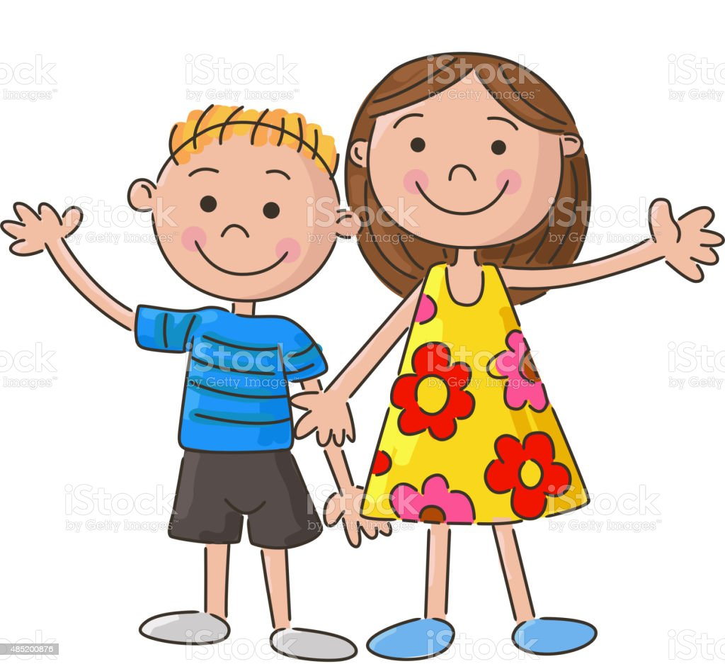 cartoon little kids holding hand vector art illustration