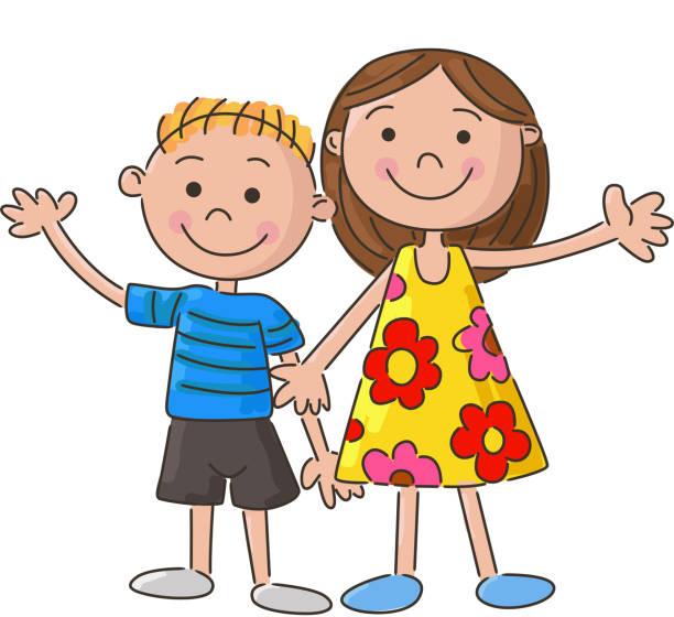 ilustrações, clipart, desenhos animados e ícones de pouco crianças segurando a mão de desenho - irmã