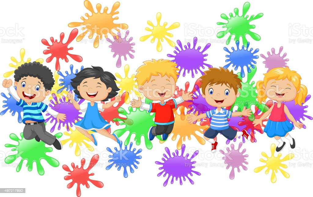 Cartoon little kids jumping together with collection of paint splash vector art illustration