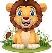 istock Cartoon little lion sitting in the grass 1322774216