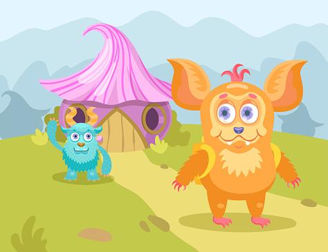 Cartoon little monsters in village flat vector illustration