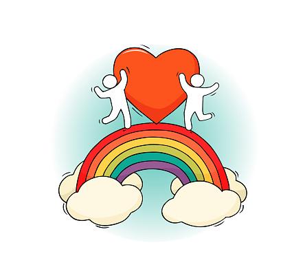 Cartoon little people with rainbow.