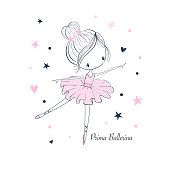artoon little Prima Ballerina. Simple linear isolated vector graphic on a white background. Fashion doodle illustration for kids clothing. Use for print, surface design, fashion wear