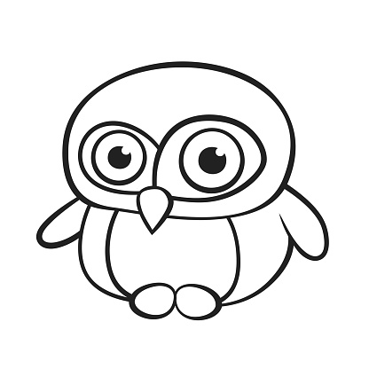 Cartoon little surprised penguin on white background. Isolated black and white vector illustration.