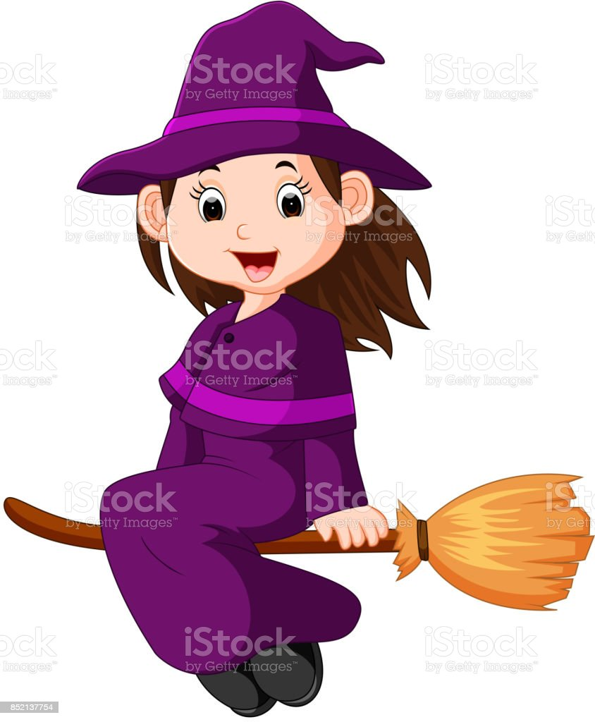 cartoon little witch flying use a broomstick stock vector art