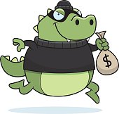 Cartoon Lizard Burglar