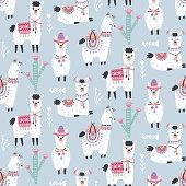 Cartoon Llama Alpaca Seamless Pattern. Hand Drawn Elements. Nursery Childish  Textile, Wallpaper. Vector illustration