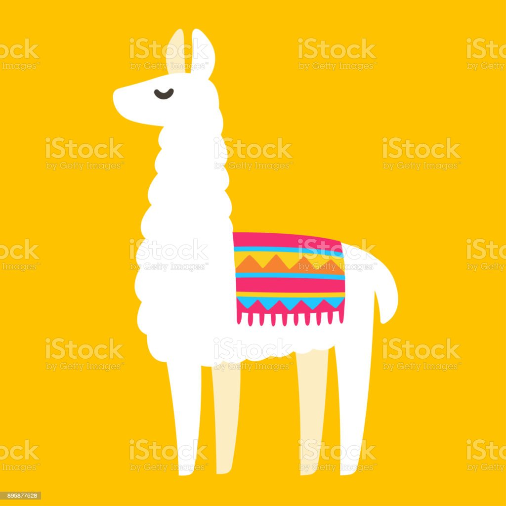 Cartoon Llama drawing vector art illustration