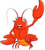 Vector illustration of Cartoon lobster waving