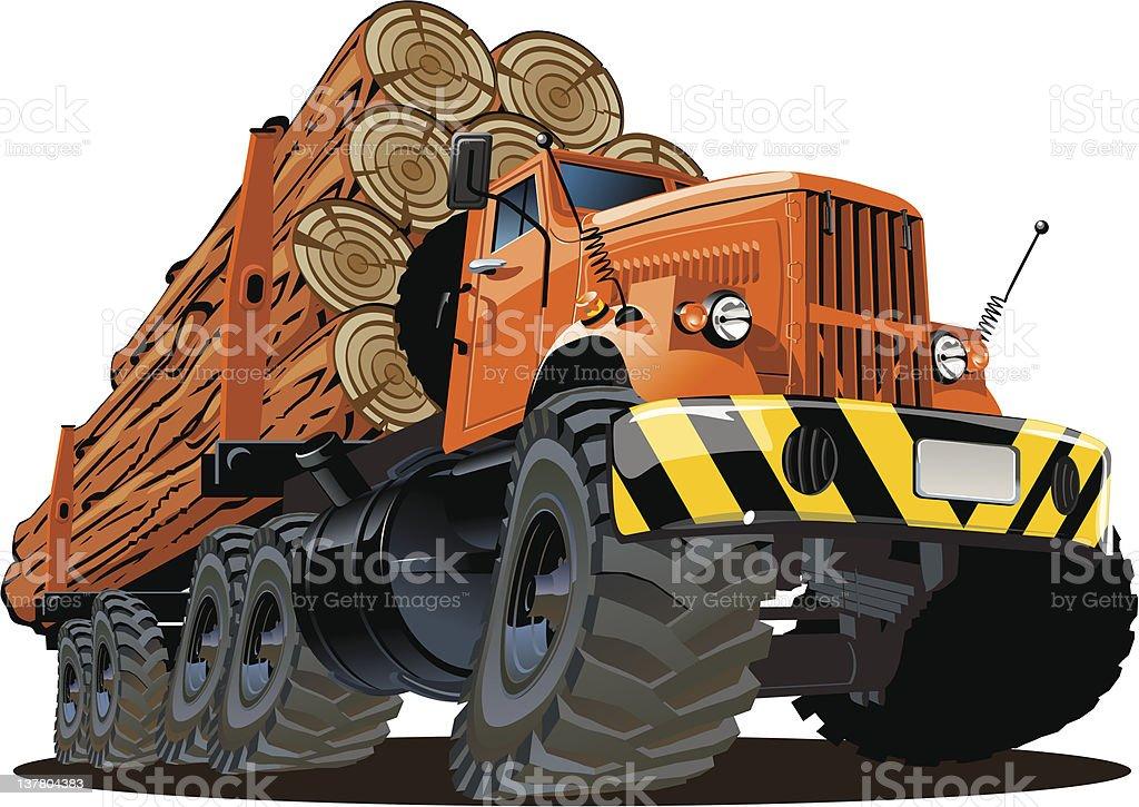 cartoon logging truck royalty-free stock vector art