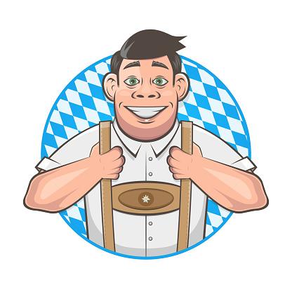 cartoon logo of a handsome bavarian man
