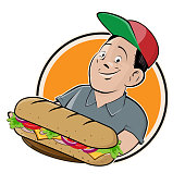 cartoon logo of a happy man serving a long sandwich