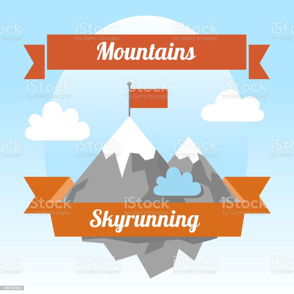 Cartoon logo of mountains with a flag on top  vector art illustration