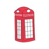 Cartoon London phone box isolated on white background. Vector illustration