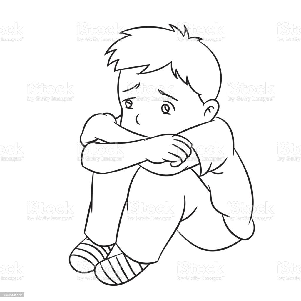 Cartoon Lonely Boy Line Drawn Vector Stock Illustration Download
