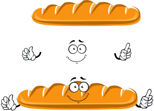 Dibujos Animados De Pan Panaderías: Top Cartoon Isolated Fresh Wheat Bread Character Clip Art