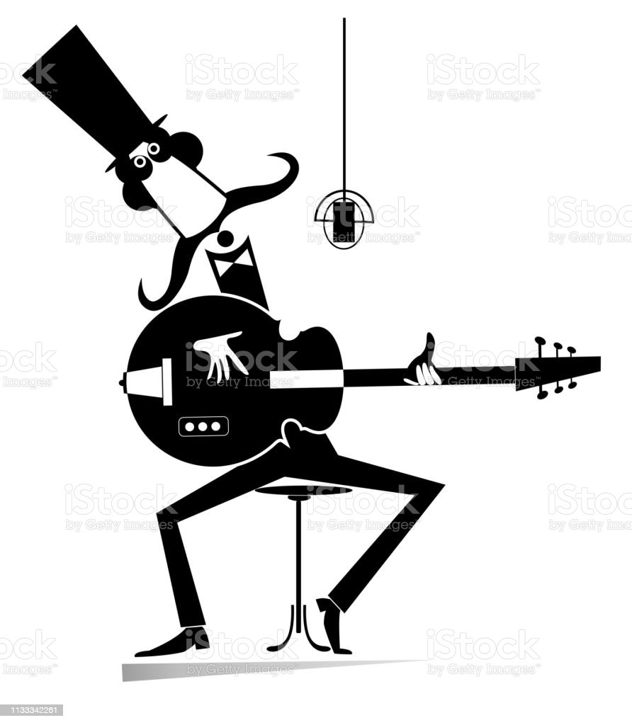 Cartoon long mustache man plays guitar and sings isolated illustration vector art illustration