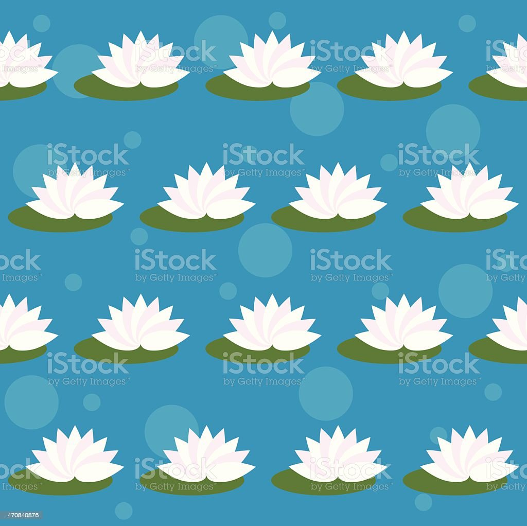 Cartoon Lotus Isolated On Bright Blue Cover Seamless Pattern