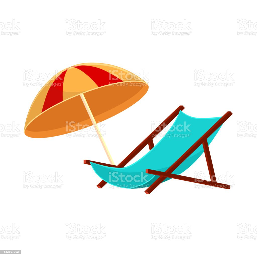 Cartoon Lounge Chair And Striped Beach Umbrella Royalty Free Cartoon Lounge  Chair And Striped Beach