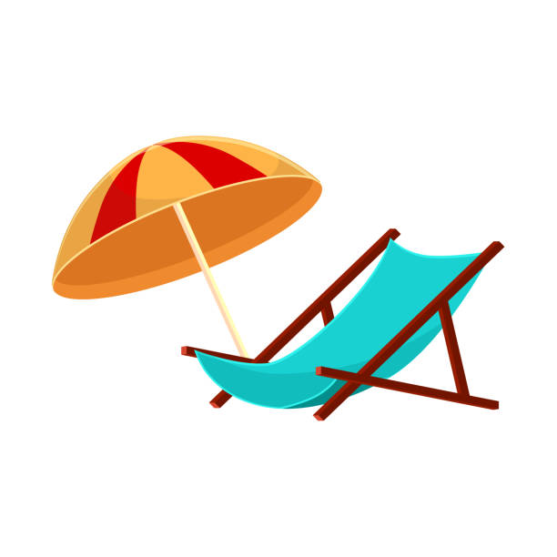 Cartoon lounge chair and striped beach umbrella Lounge chair and striped beach umbrella, cartoon vector illustration isolated on white background. summer vacation outdoor chair stock illustrations