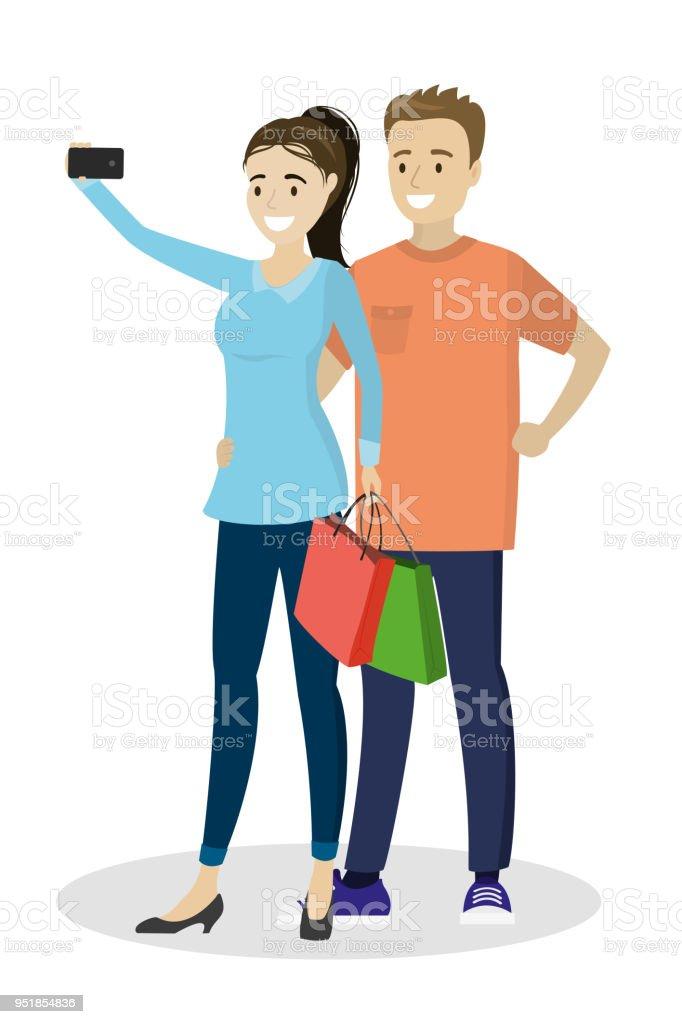 Dessin Anime Amour Couple Fait Selfie Isole Sur Fond Blanc