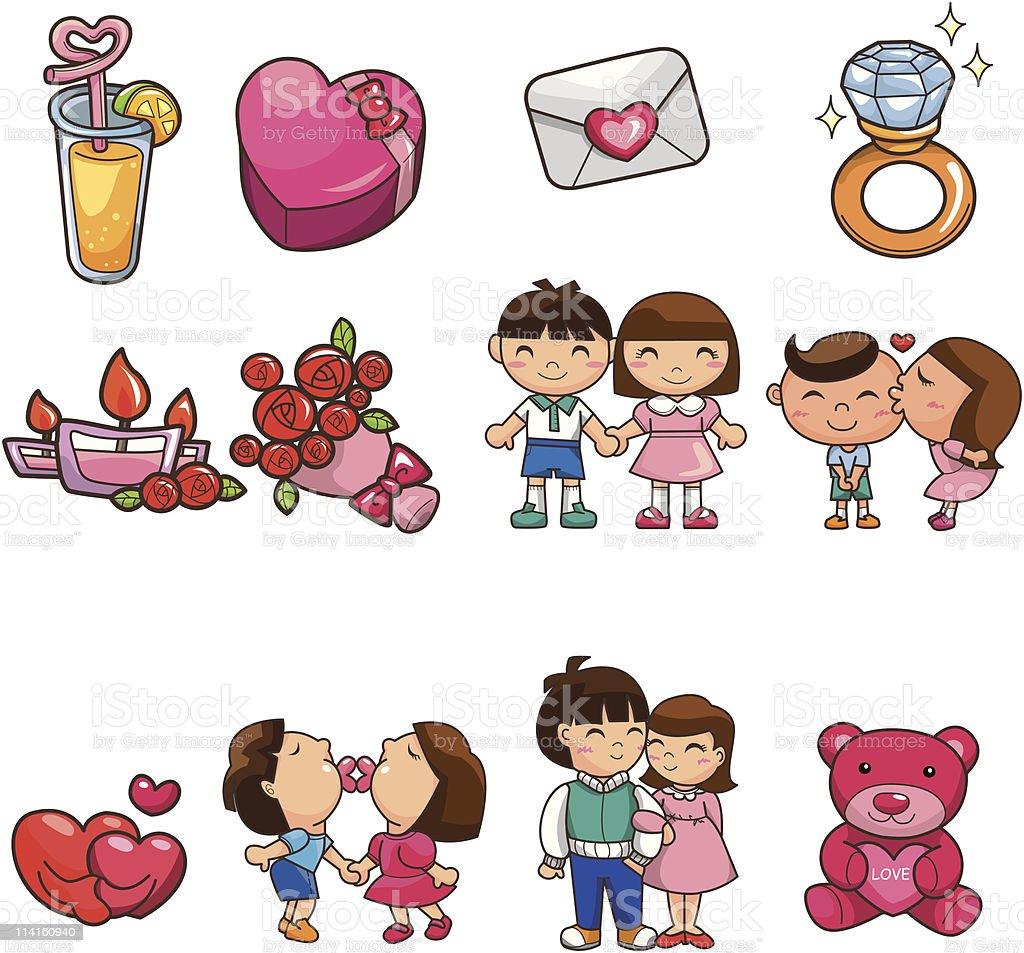cartoon love element icon vector art illustration