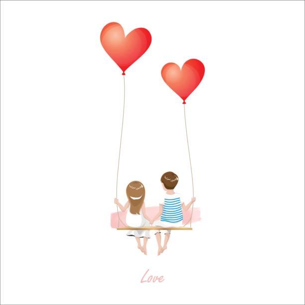 Download Cartoon Lover Couple On Heart Balloon Swing White ...