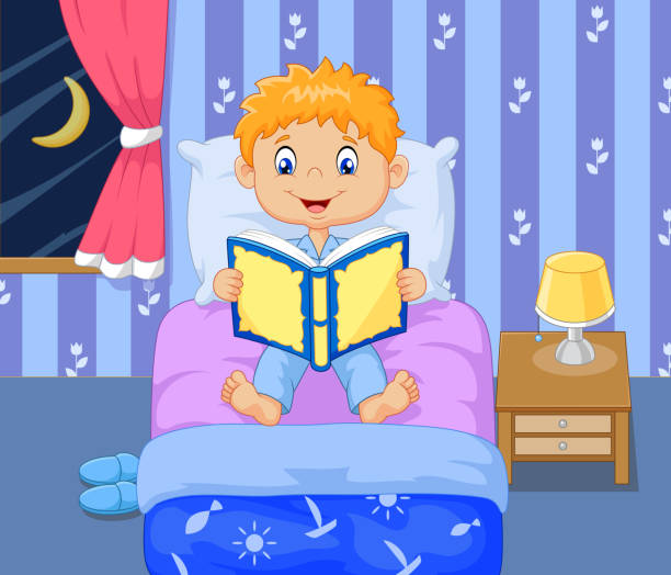 cartoon lttle boy reading bed time story - bedtime story stock illustrations