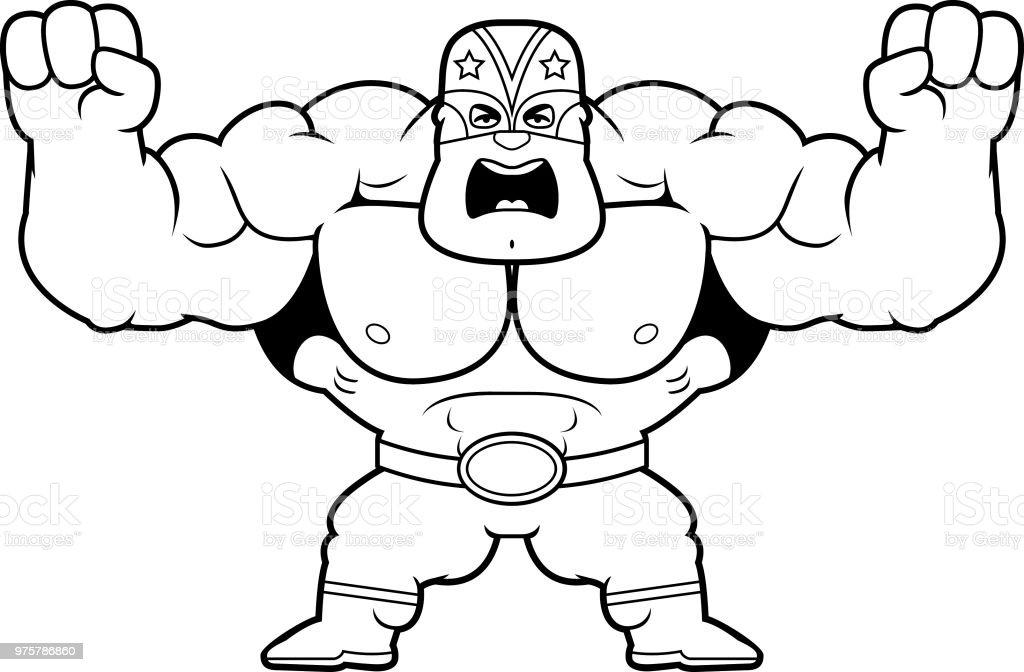 Cartoon Luchador wütend - Lizenzfrei Comic - Kunstwerk Vektorgrafik