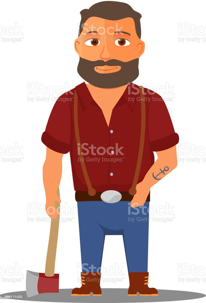 Cartoon lumberjack character with axe. Vector vector art illustration