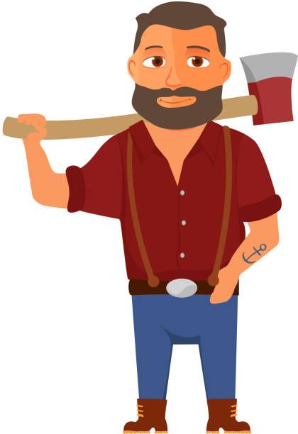 illustrations, cliparts, dessins animés et icônes de cartoon lumberjack character with axe. vector - man axe wood