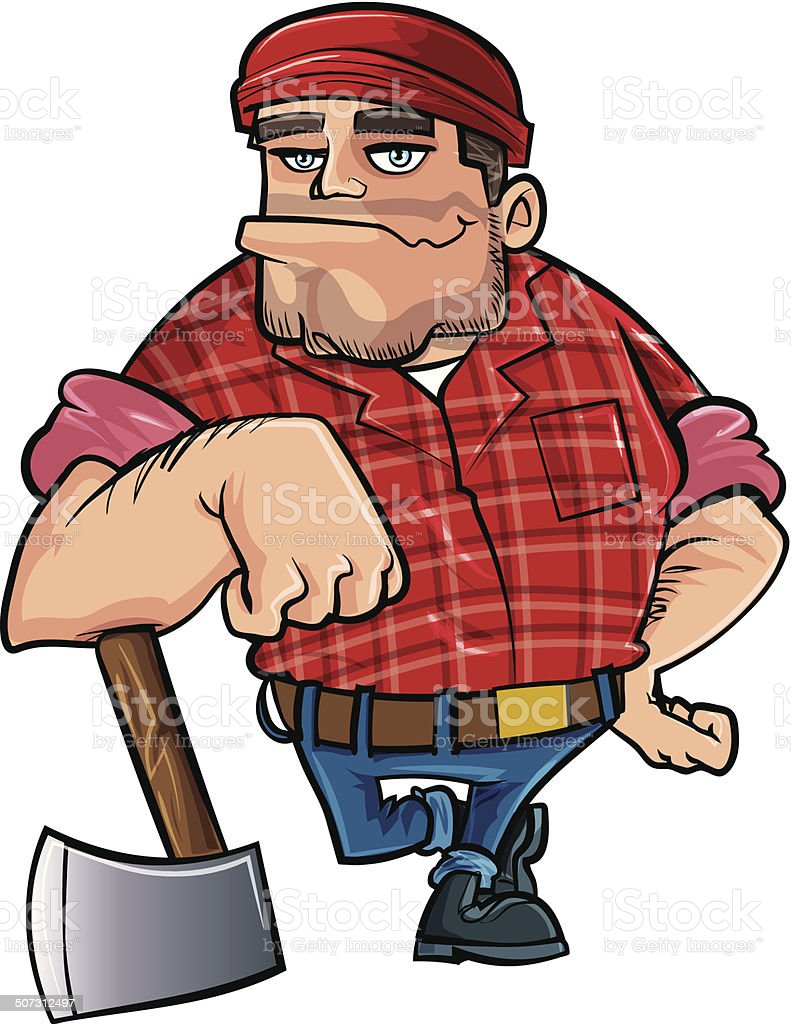 Cartoon lumberjack holding an axe. Isolated on white vector art illustration
