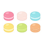 Cartoon macarons set. Different color almond cookies, isolated vector illustration.