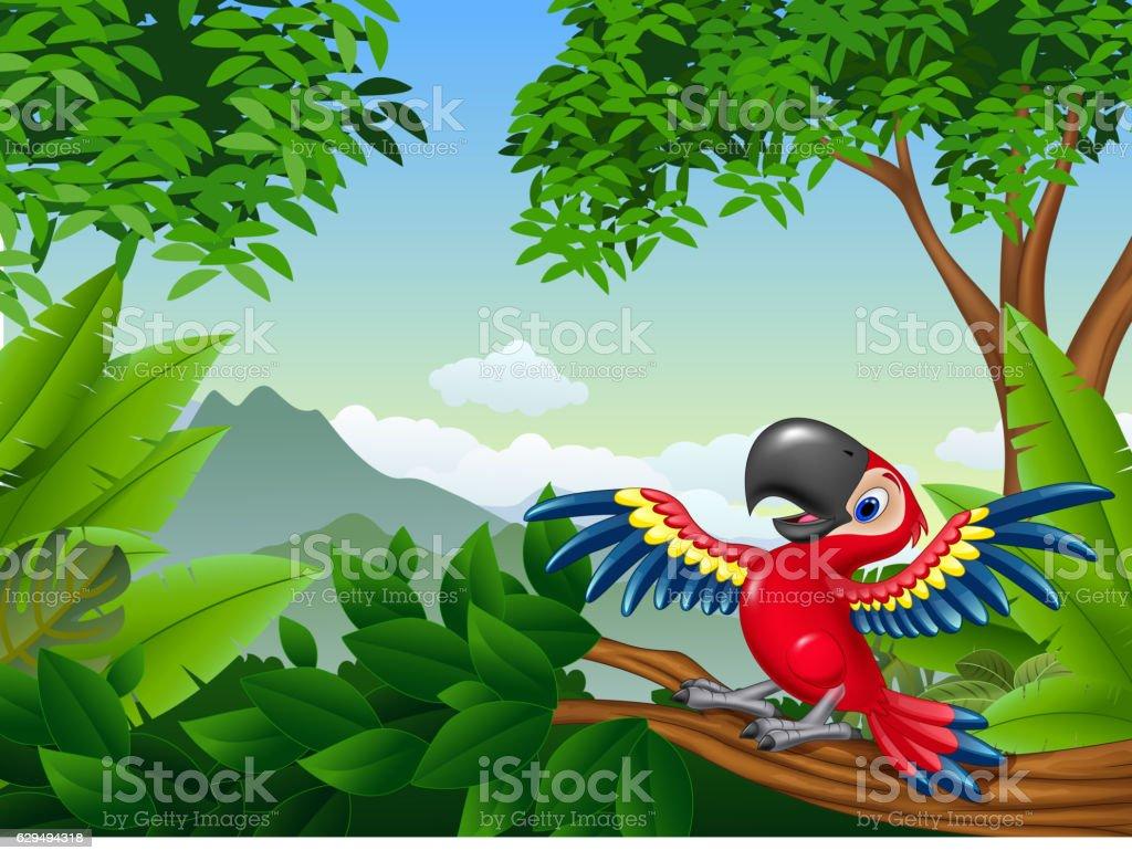 Cartoon macaw in the jungle vector art illustration