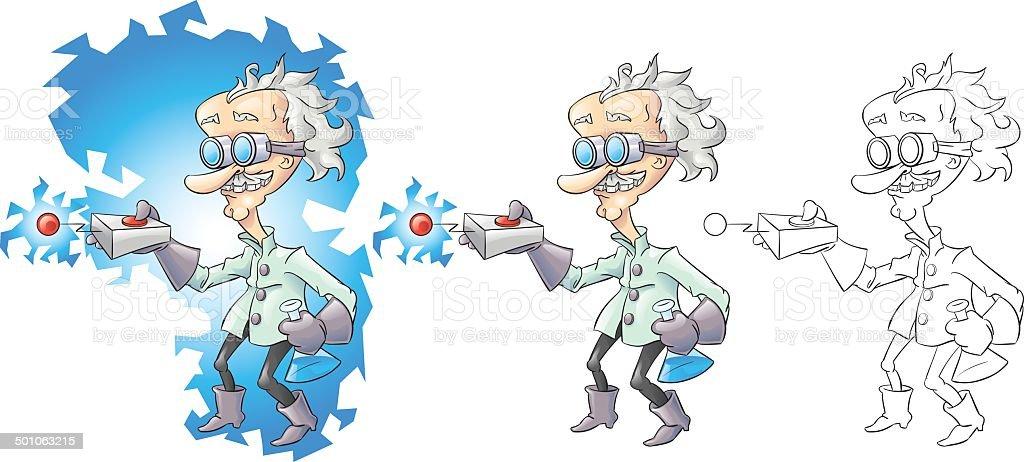 Cartoon mad scientist vector art illustration