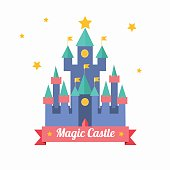 Cartoon Magic Castle Fairytale Medieval House and a Ribbon with Text. Flat Design Style. Vector illustration