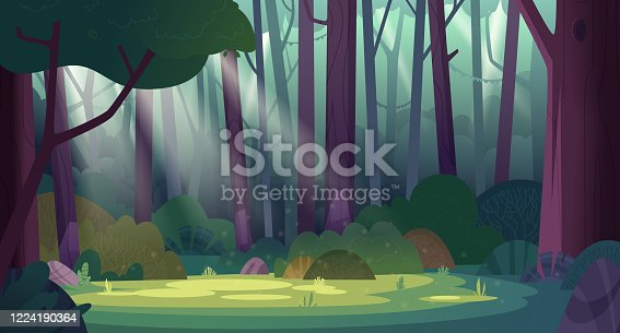 istock Cartoon magic summer jungle forest glade with sunbeams. Forest wilderness landscape. 1224190364