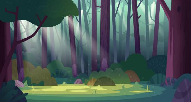 bildbanksillustrationer, clip art samt tecknat material och ikoner med cartoon magiska sommar djungel skog glänt med solstrålar. skogsvildmarklandskap. - forest