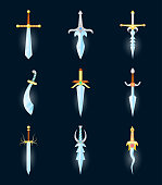 Cartoon Magic Swords Color Icons Set. Vector