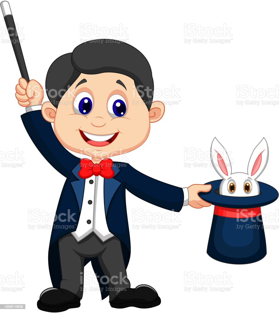 a cartoon magician pulling out a rabbit from his hat stock vector rh istockphoto com magician animation clipart magician hat clipart