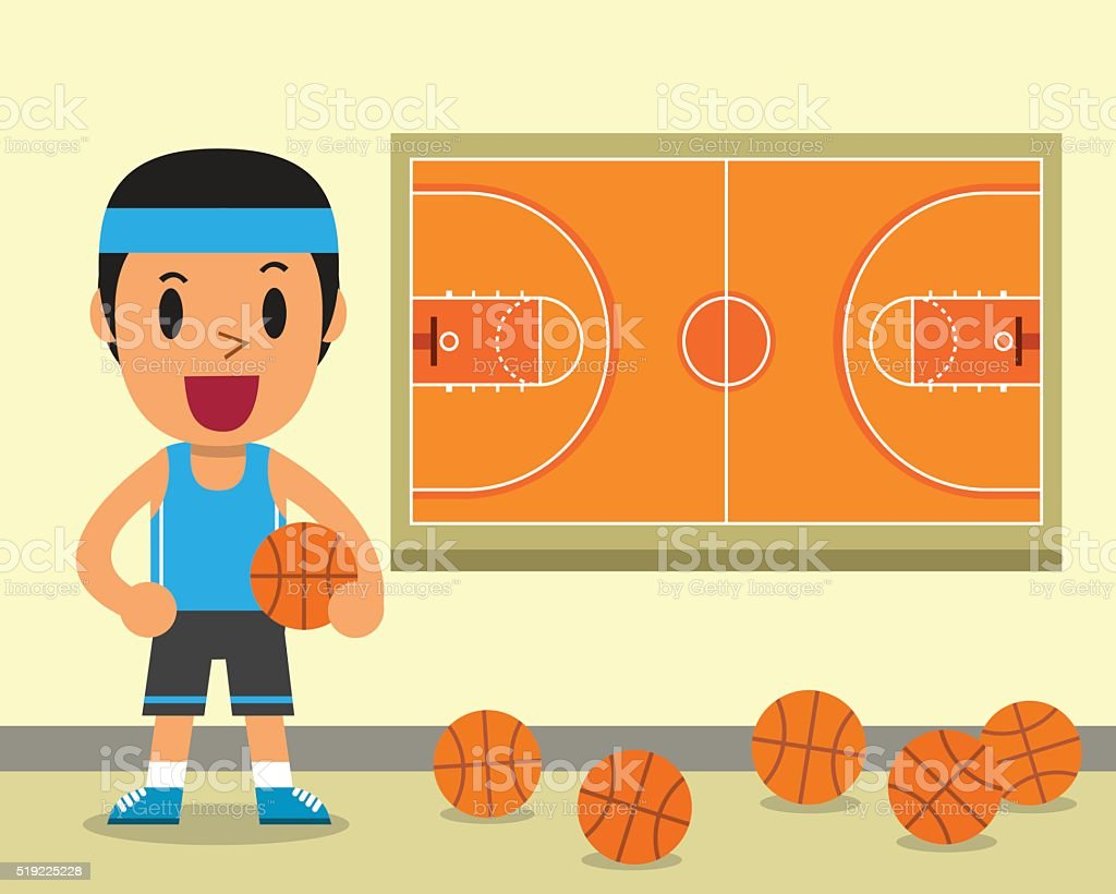 Cartoon Male Basketball Player And Court Template Stock Vector Art