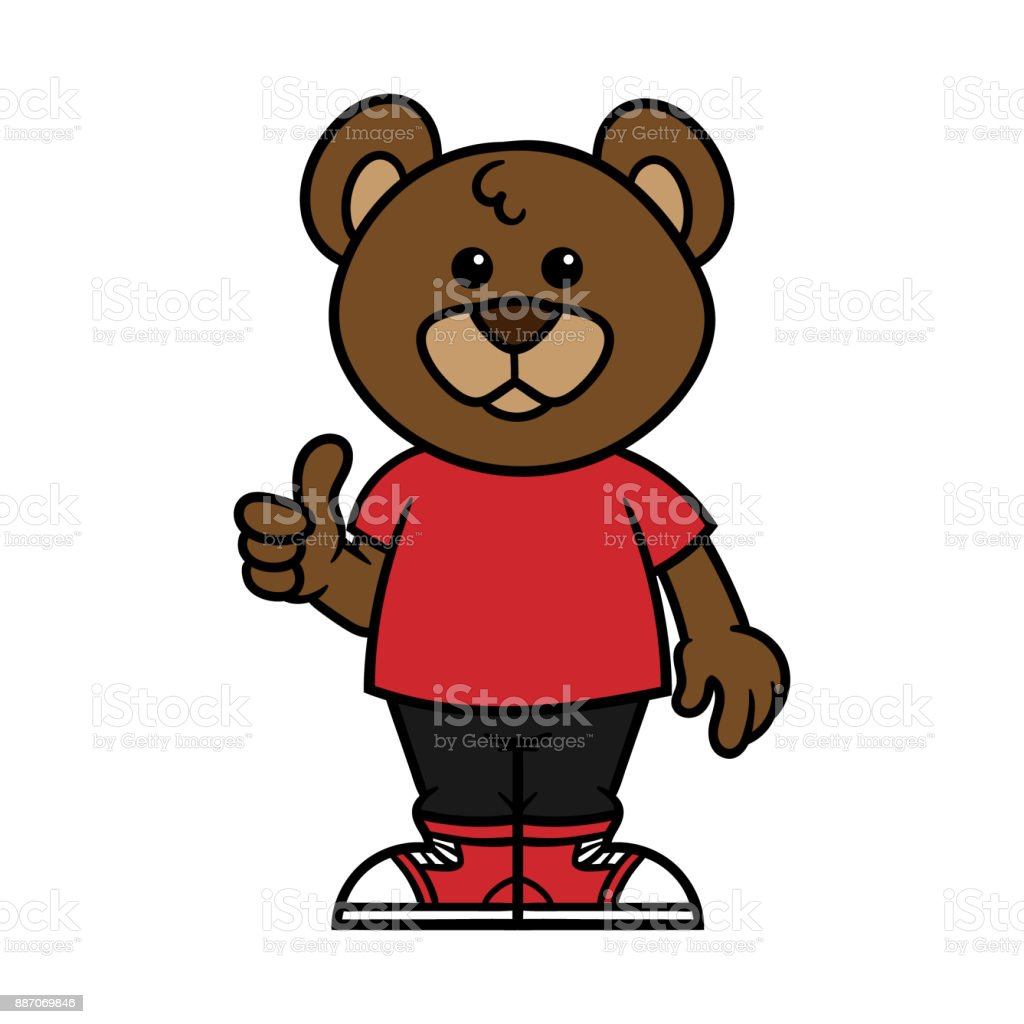 Cartoon Male Bear Character vector art illustration