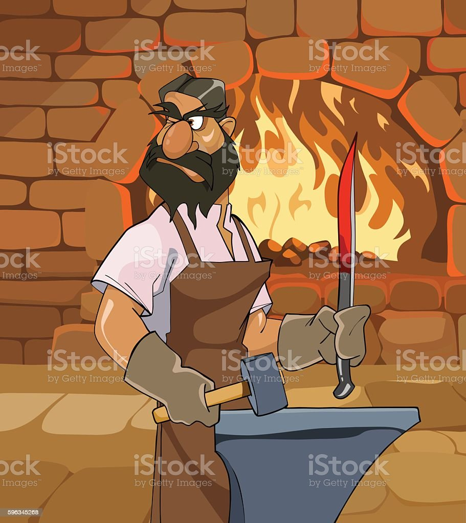 cartoon male blacksmith forges a sword and menacingly looks back royalty-free cartoon male blacksmith forges a sword and menacingly looks back stock vector art & more images of activity