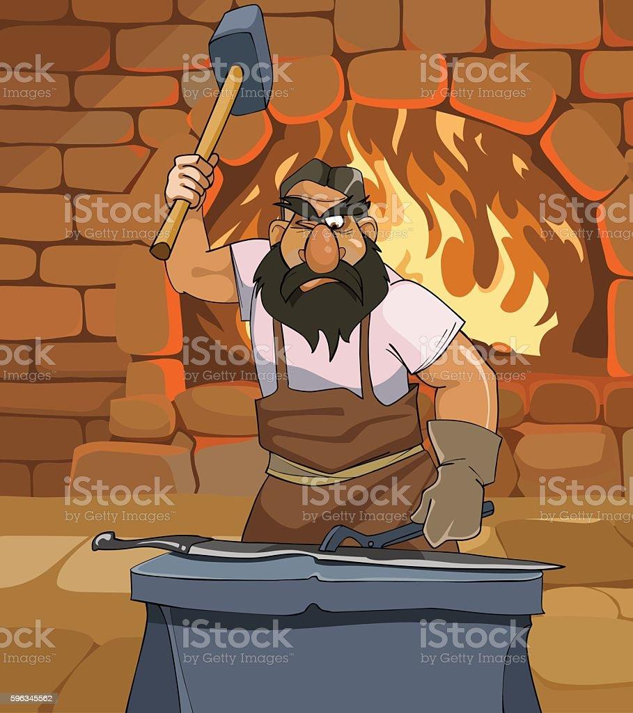 cartoon male blacksmith forges a sword in the smithy Lizenzfreies cartoon male blacksmith forges a sword in the smithy stock vektor art und mehr bilder von aktivitäten und sport