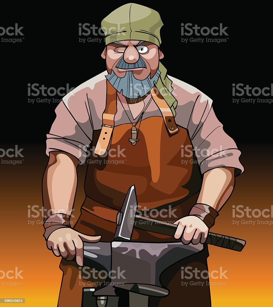 cartoon male blacksmith worker with hammer royalty-free cartoon male blacksmith worker with hammer stock vector art & more images of activity