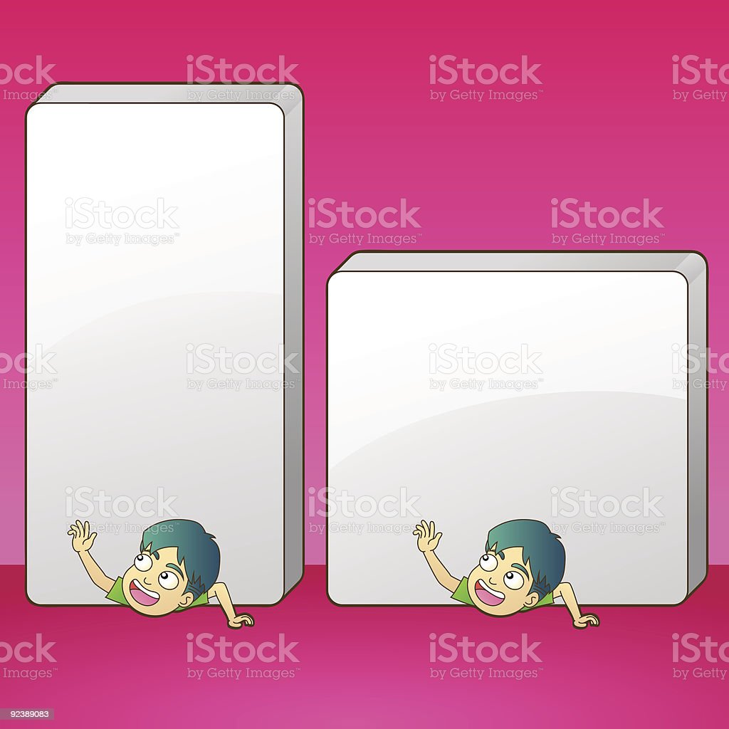 Cartoon male crushed by sign royalty-free stock vector art