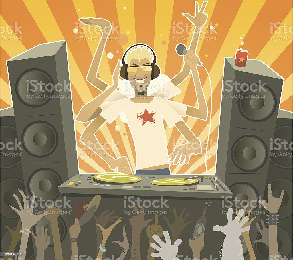 Cartoon Male DJ at Party royalty-free stock vector art