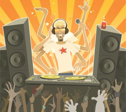 Cartoon Male DJ at Party